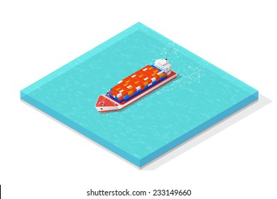 Isometric cargo ship carrying various multicolored containers. Vector illustration concept.