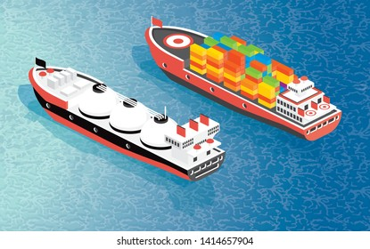 Isometric Cargo Ship Container and LNG Carrier Ship. Vector Illustration. Shipping Freight Transportation.