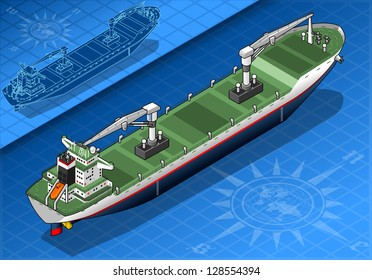 Isometric Cargo Ship Container in Navigation.