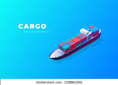 Isometric cargo ship container in the ocean transportation. illustration vector