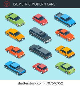Isometric cars collection with front and rear views. city transport vehicle icons set. 3d vector transport icon. Highly detailed vector illustration