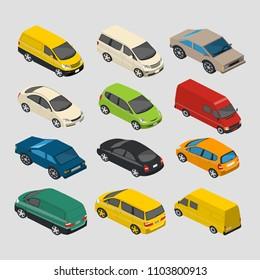isometric cars mini 3d vector