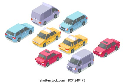 Isometric cars vector illustration isolated icons of private car, taxi or armored van and delivery coach. Isometric transport collection of passenger and service cars in traffic on parking flat design