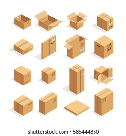 Isometric carton packaging box images set of different size with postal signs this side up fragile vector illustration