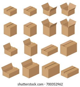 Isometric carton packaging box vector icons. Realistic mockups of brown delivery packages isolated on white background.