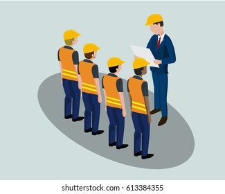 Isometric cartoon of building, construction, development, teamwork and people concept. Builders in hardhats discuss with engineer with blueprint in vector illustration