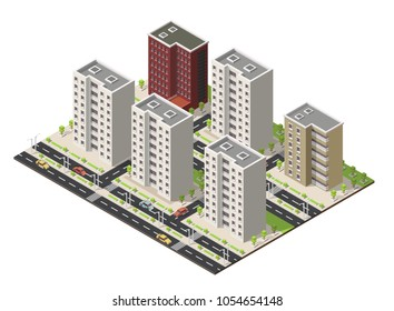 Isometric Cartoon building facade vector illustration, street, background.