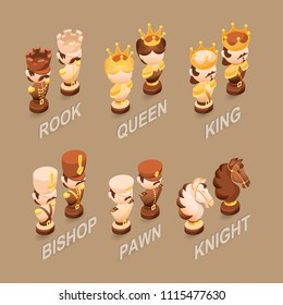 Isometric cartoon chess pieces King, Queen, Bishop, Rook, Pawn, Knight.  Cute chessman isolated on brown background. Vector flat illustration.