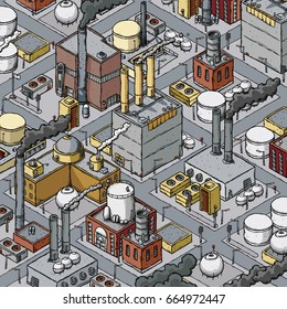 Isometric cartoon of a dense zone of heavy industry with factories, refineries, smokestacks and fuel tanks.