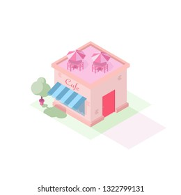 Isometric cartoon illustration of Cafe Restaurant building