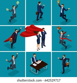 Isometric cartoon people, 3d businessmen, concepts with a businessman and business lady, joy money solving problems superman and super lady for vector illustration