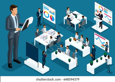 Isometric cartoon people, 3d businessmen and business ladies different situations, big man and mini coaching concept for vector illustrations.