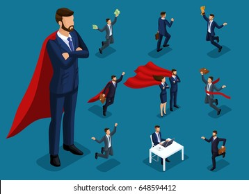 Isometric cartoon people, 3d businessmen and supermen in different situations, big man and mini concept with him for vector illustrations.