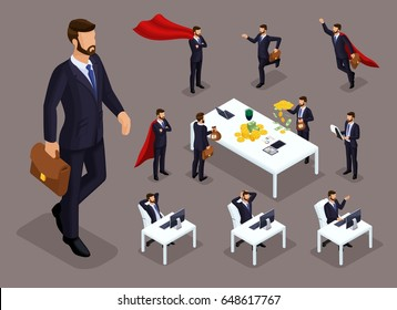 Isometric cartoon people, 3d businessmen and supermen in different situations, big man and mini concept with office staff for vector illustrations.