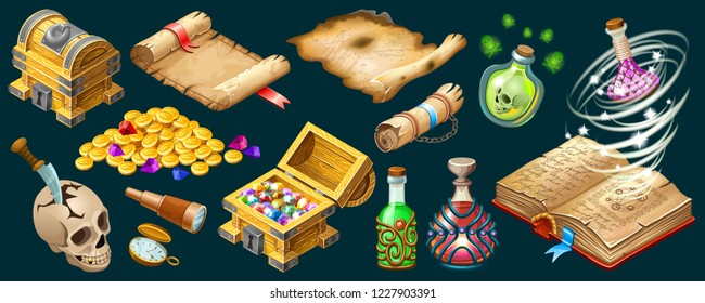 Isometric cartoon royal parchments, book of spells, treasure chests, magical drinks or poisons for computer game on dark background. Isolated vector illustration.