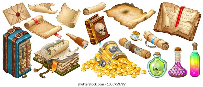 Isometric cartoon royal parchments, rice paper, book of spells, treasure chests, magical drinks or poisons for computer game on white background. Isolated vector illustration.
