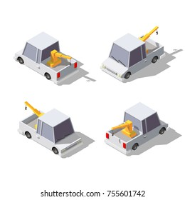 Isometric cartoon tow truck. Vector illustration of pick up truck with crane.