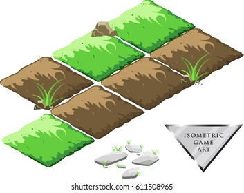 Isometric cartoon vector fields of earth and green grass for game. A set of stones. Isolated on white background