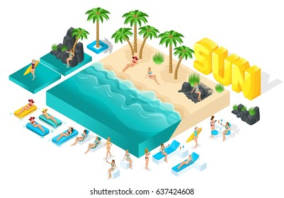 Isometric cartoon vector people, 3d girl in bathing suits, large set of elements for creating her beach with beautiful sea waves bright summer vector illustration.