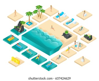 Isometric cartoon vector people, 3d girl in swimsuit, set for creating her beach with beautiful sea waves bright summer vector illustration.