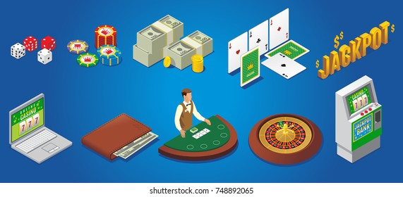 Isometric casino icons set with dice poker chips money playing cards jackpot online gambling wallet croupier roulette slot machine isolated vector illustration