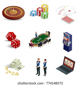 Isometric casino icons set. Laptop with roulette, slot machine, dice, casino chips and playing cards isolated on background. Vector illustration