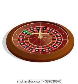 Isometric Casino Roulette whee. Realistic casino gambling roulette wheel isolated on white background vector illustration