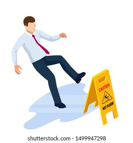 Isometric caution wet floor sign isolated on white background. The man slipped on the wet floor.