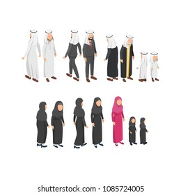 Isometric Character Design Wearing Arabian Traditional Clothes. Man, Woman, Child, Old Man, and Old Woman. Flat 3D Illustration