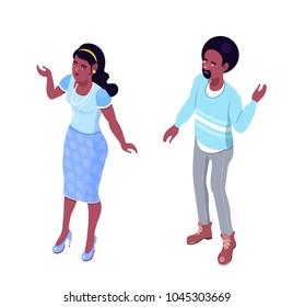 Isometric characters, interacting flat style poeple talking