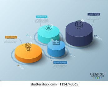 Isometric chart with 4 colorful cylinderical elements or columns, thin line icons, dates and place for text. Concept of timeline with four steps. Infographic design layout. Vector illustration.