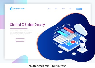 Isometric Chat bot and online survey. Online exam, questionnaire form, online education or internet quiz. Artificial intelligence. AI and business IOT concept.