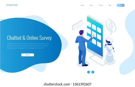 Isometric Chat bot and online survey. Online exam questionnaire form online education, internet quiz. Artificial intelligence. AI and business IOT concept.