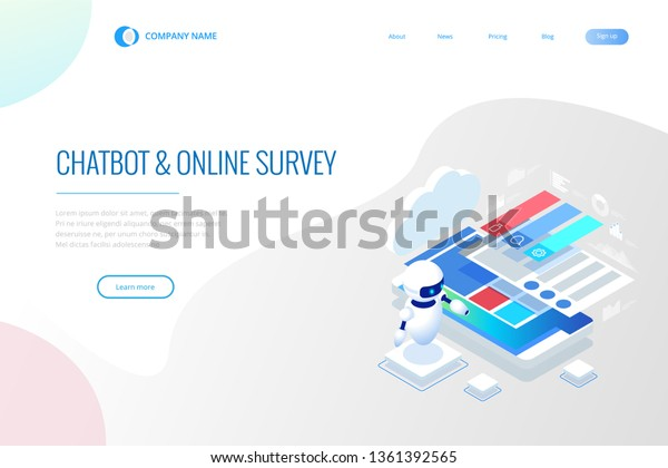 Isometric Chat Bot Online Survey Online Stock Vector (Royalty Free