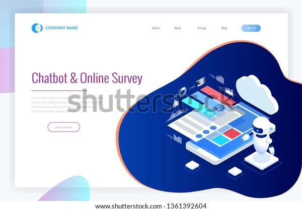 Isometric Chat Bot Online Survey Online Stock Vector