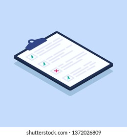 Isometric checklist vector illustration. Pad with sheets of paper and a list of tasks with checkboxes that are checked with with green tick and red crosses.