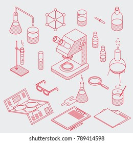Isometric chemical laboratory tools set. Minimalistic outline style. Various test tubes, flask, microscope and other. You can also edit outlines, just add stroke wight to shapes on editable layer.