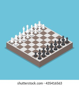 Isometric chess piece or chessmen with board, competition, business strategy concept