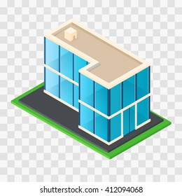 Isometric Chic modern rustic cottage. Glass building. House for Business center. Element of cartography. Stylish architectural icon. Vector illustration.