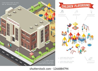 Isometric children playground concept with kindergarten building slides swings sandbox playhouse sandbox kids and parents vector illustration