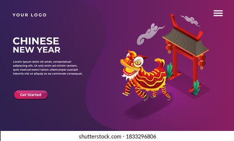 Isometric chinese new year lion dance concept for website and mobile apps landing page