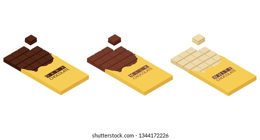 Isometric chocolate bars and pieces isolated on white bacground. White, dark and mil chocolate