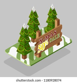 Isometric christmas trees with a wooden sign.
