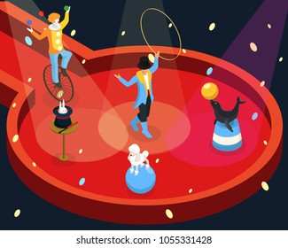 Isometric circus performance rehearsal template with tamer animal and magic tricks clown juggling on unicycle vector illustration