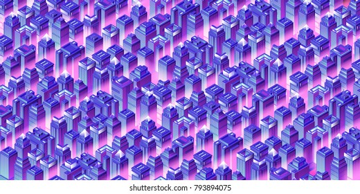 Isometric city background with skyscrapers at night. Offices, stores and headquarter. Vector illustration.