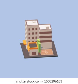 Isometric City Block with street basketball court