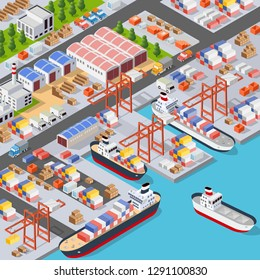 Isometric City Boulevard with an industrial port with cruise and transport boat and naval ships nautical transport on the sea for travel vacation tourism illustration. Isometric set of transportation