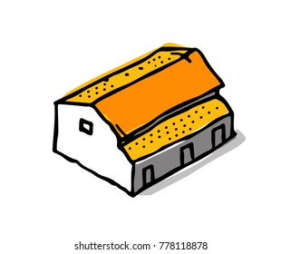 Isometric city building collection in drawing doodle style.