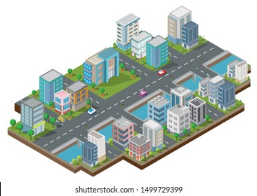 Isometric City Building vector.The town on Yard with road and trees.Bridge over the river.smart city and public park.building 3d,cars,capital , Vector office and metropolis concept.