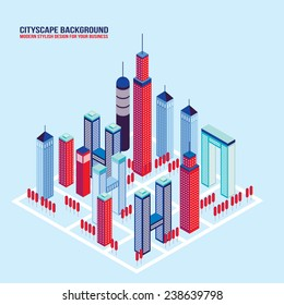 Isometric City buildings and architecture Cityscape